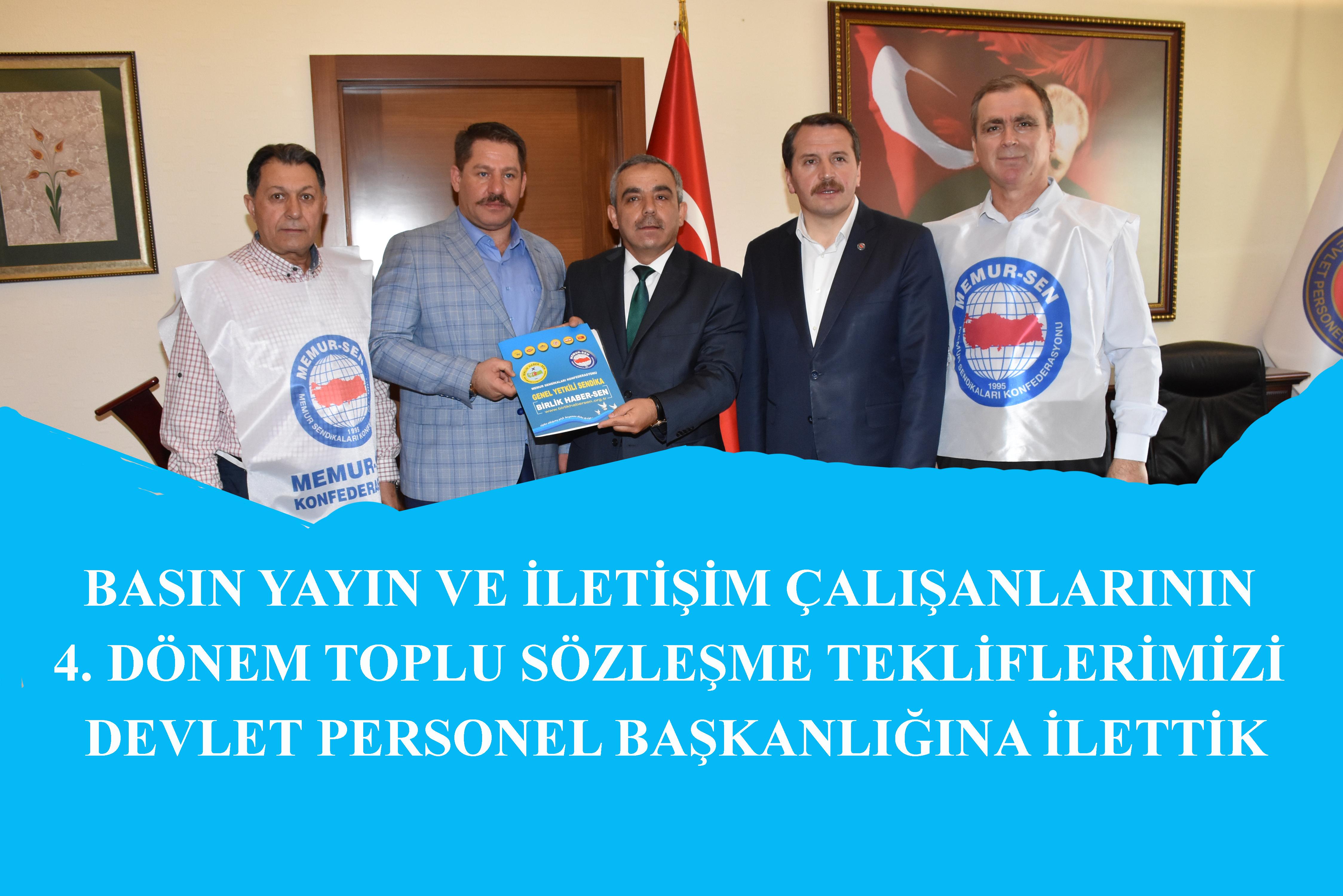 Toplu Sözleşme Tekliflerimizi Devlet Personel Başkanı Polat'a İlettik